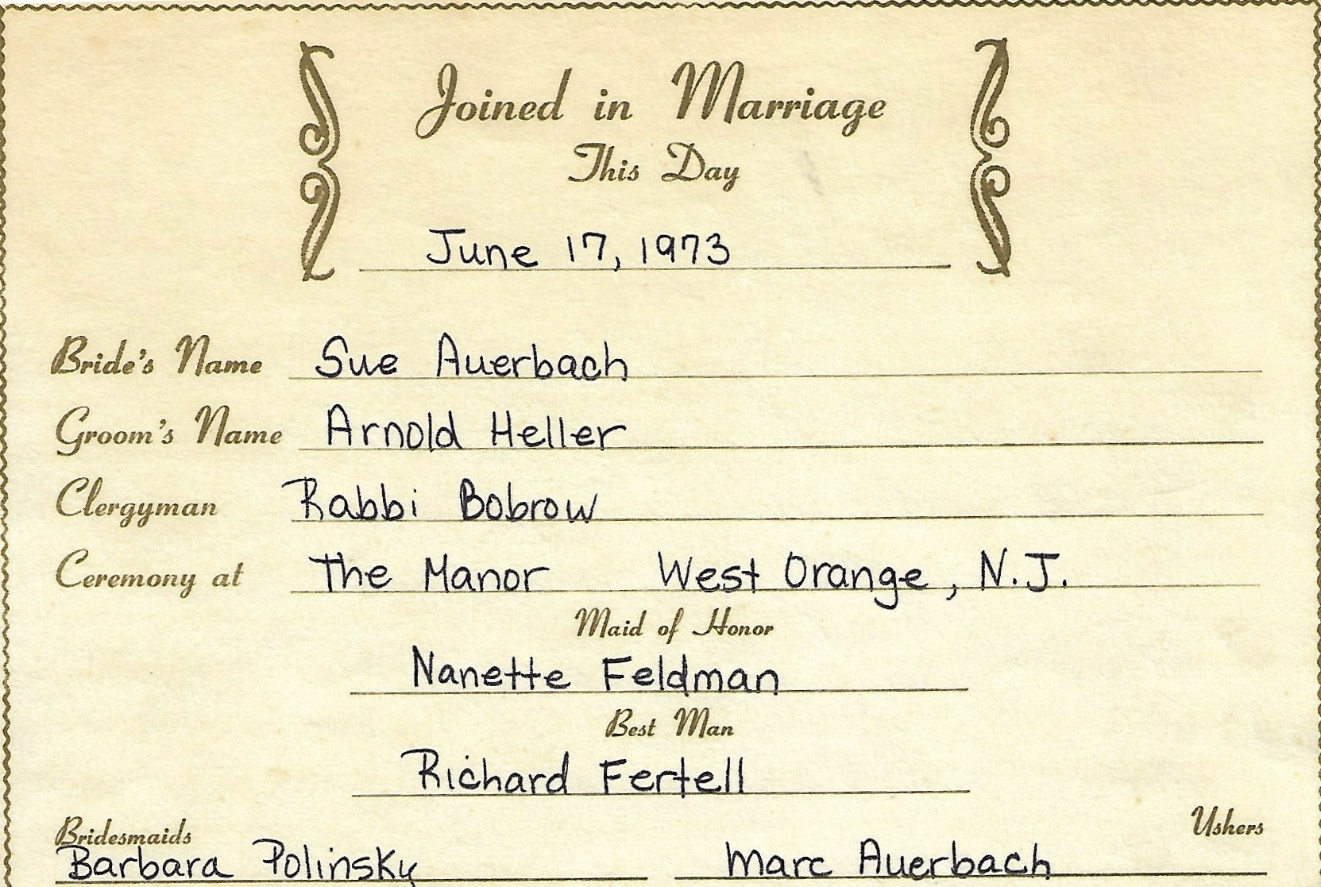Photo album 7 arnold sue heller our perfect wedding june 17 1973 my incredibly supportive in laws herman and roz auerbach of whom i never told an in law joke about worked very hard to throw sue and i a fabulous wedding malvernweather Image collections